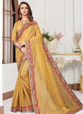 Cotton Silk Lace Work Designer Contemporary Saree