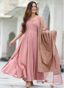 Cotton Silk Lace Work Readymade Churidar Salwar Kameez