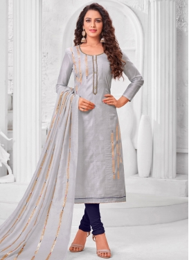 Cotton Silk Lace Work Trendy Churidar Salwar Kameez