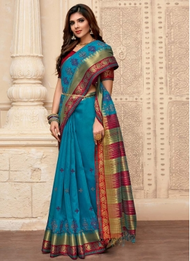 Cotton Silk Light Blue and Maroon Designer Contemporary Saree