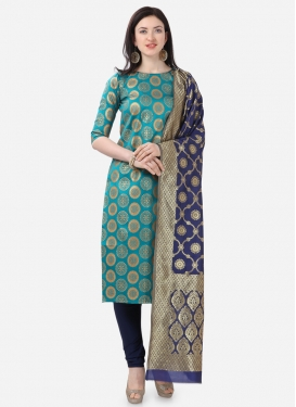 Cotton Silk Light Blue and Navy Blue Woven Work Pant Style Pakistani Salwar Suit
