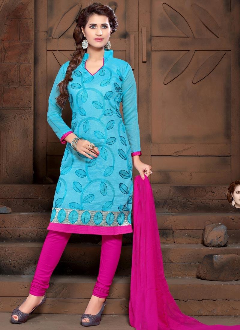 Cotton Silk Light Blue and Rose Pink Churidar Salwar Suit