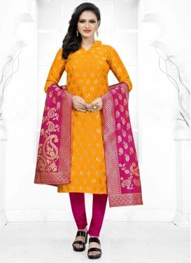 Cotton Silk Magenta and Mustard Woven Work Trendy Salwar Kameez
