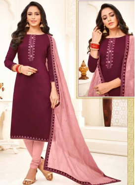 Cotton Silk Maroon and Salmon Trendy Churidar Salwar Kameez