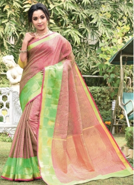 Cotton Silk Mint Green and Salmon Designer Contemporary Style Saree For Festival
