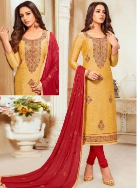 Cotton Silk Mustard and Red Embroidered Work Trendy Churidar Salwar Suit