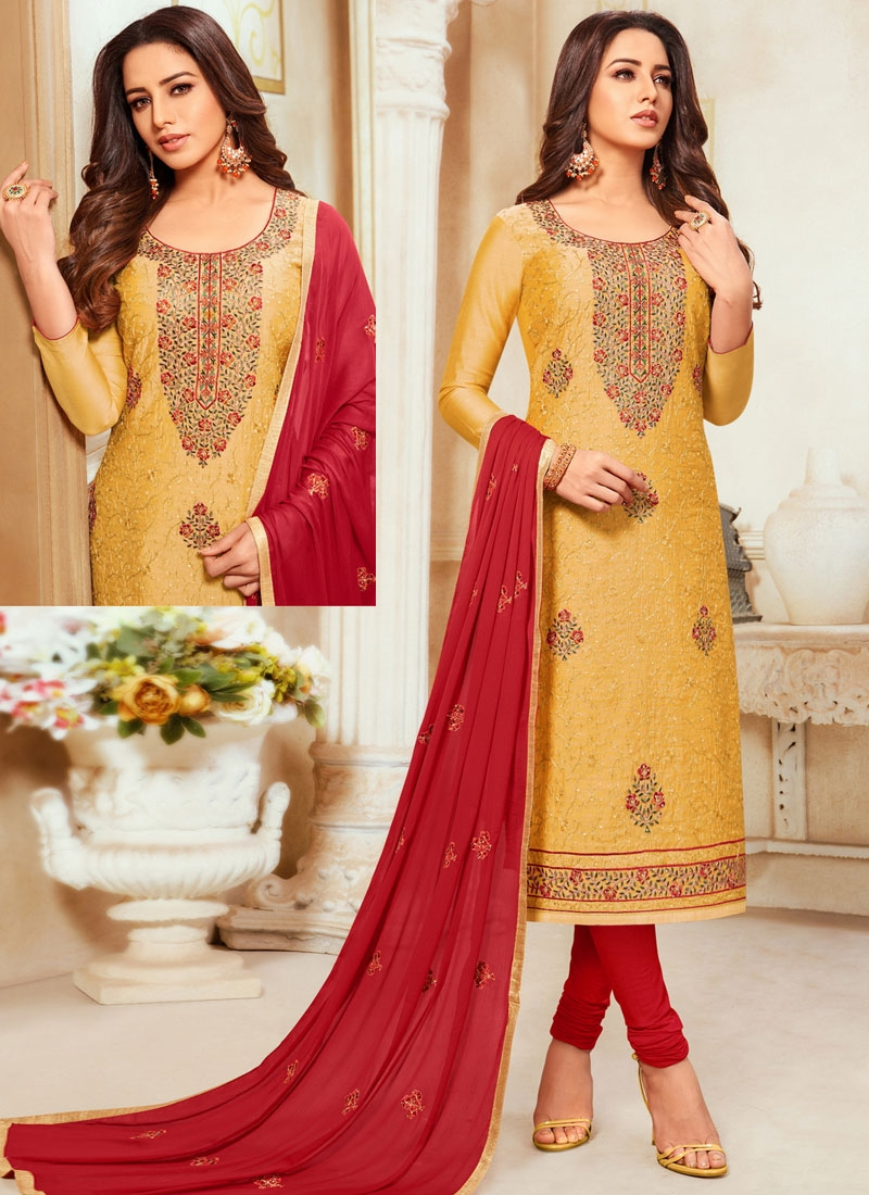 Cotton Silk Mustard and Red Embroidered Work Trendy Churidar Salwar Suit