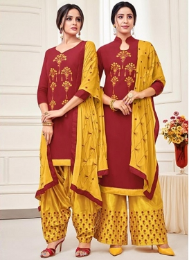 Cotton Silk Mustard and Red Embroidered Work Trendy Salwar Suit