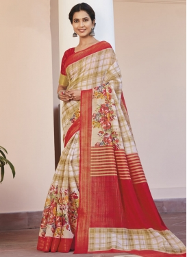 Cotton Silk Off White and Red Designer Contemporary Style Saree For Casual