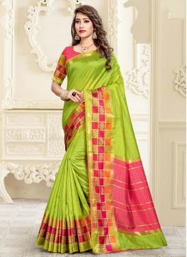 Cotton Silk Olive and Rose Pink Woven Work Designer Contemporary Style Saree