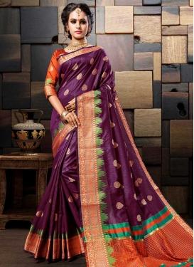 Cotton Silk Orange and Purple Trendy Classic Saree