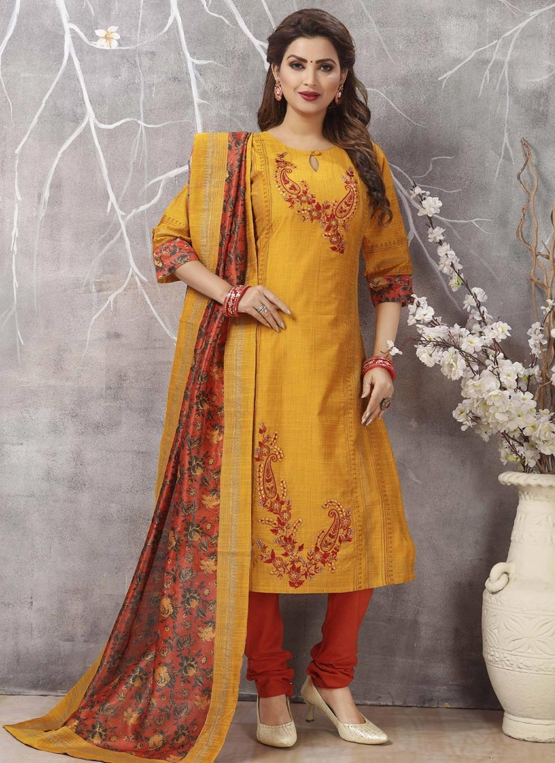 Cotton Silk Orange and Red Embroidered Work Readymade Churidar Salwar Suit