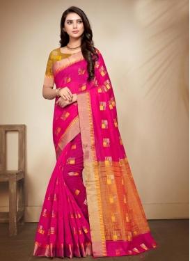 Cotton Silk Orange and Rose Pink Contemporary Style Saree