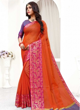 Cotton Silk Orange and Rose Pink Traditional Designer Saree