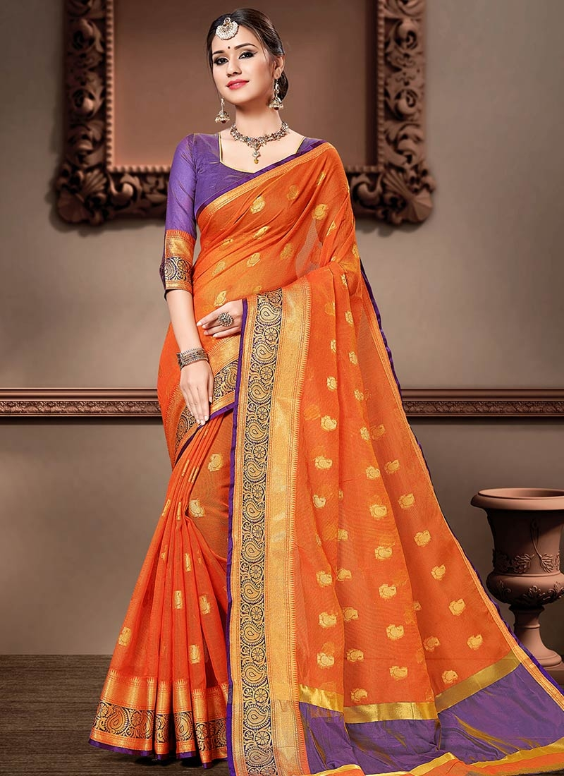 Cotton Silk Orange and Violet Woven Work Contemporary Style Saree