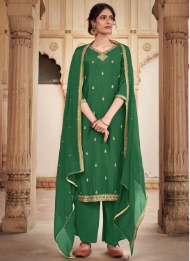 Cotton Silk Palazzo Style Pakistani Salwar Kameez For Ceremonial