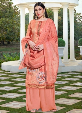 Cotton Silk Palazzo Style Pakistani Salwar Suit For Festival