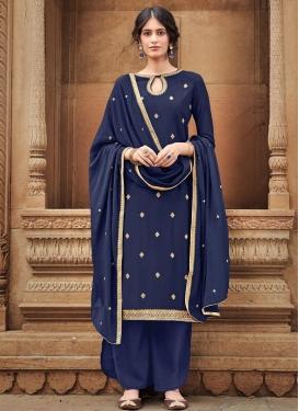 Cotton Silk Palazzo Style Pakistani Salwar Suit For Festival