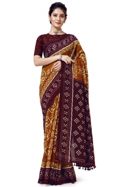 Cotton Silk Print Work Maroon and Orange Traditional Designer Saree
