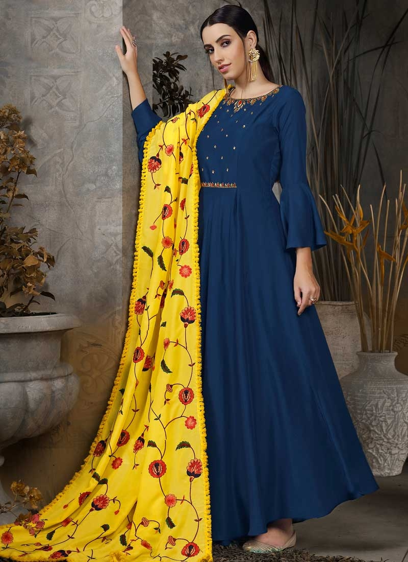 Cotton Silk Readymade Long Length Gown