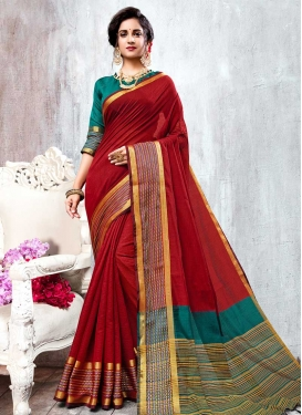 Cotton Silk Red and Teal Contemporary Style Saree