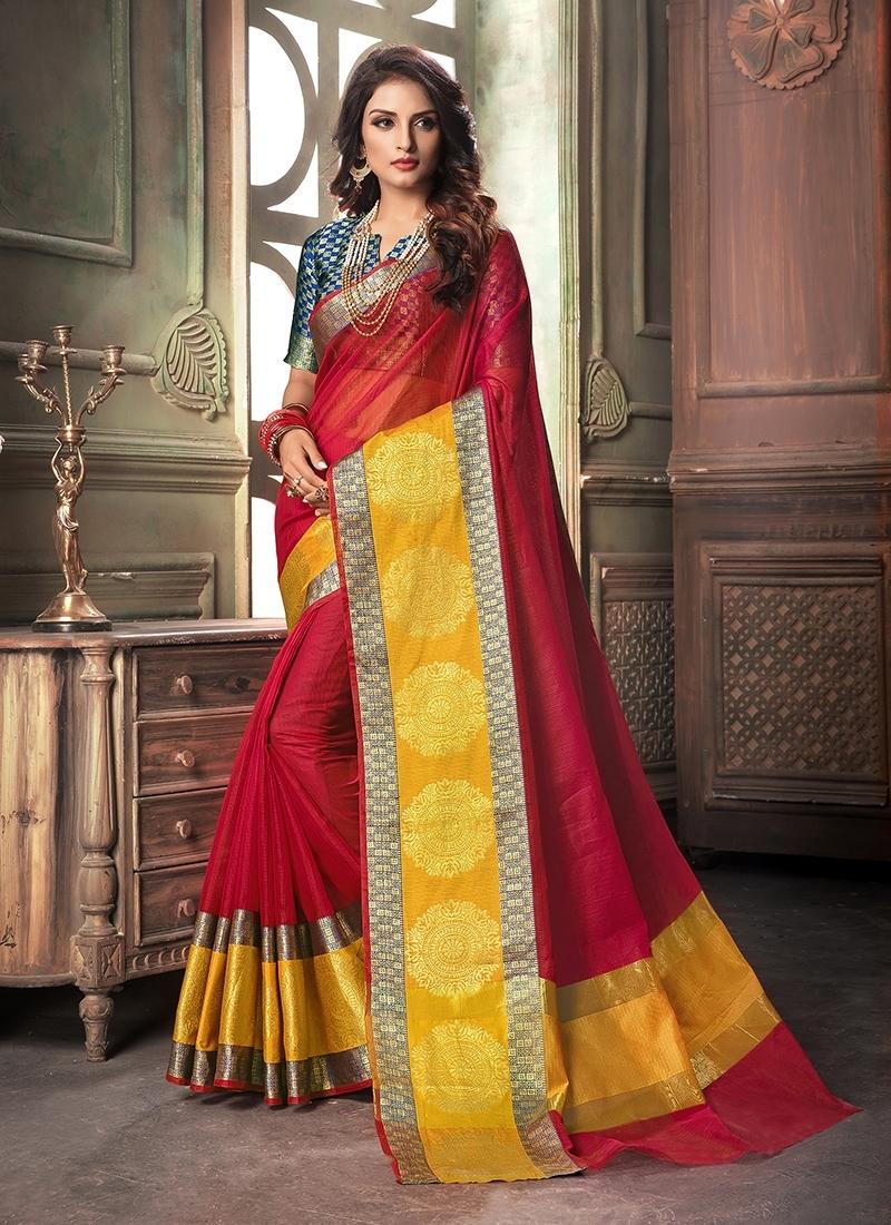 Cotton Silk Red Designer Saree