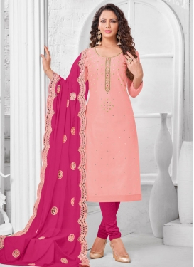 Cotton Silk Rose Pink and Salmon Resham Work Trendy Churidar Salwar Suit