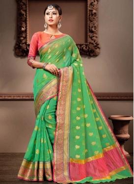 Cotton Silk Rose Pink and Sea Green Traditional Designer Saree