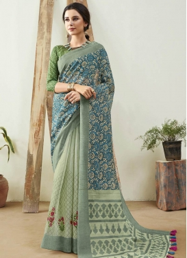 Cotton Silk Sea Green and Teal Woven Work Half N Half Trendy Saree