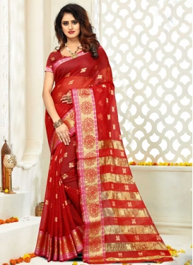 Cotton Silk Thread Work Contemporary Style Saree