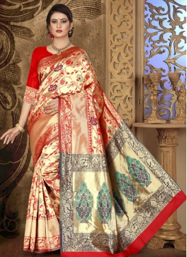 Cotton Silk Thread Work Designer Contemporary Style Saree