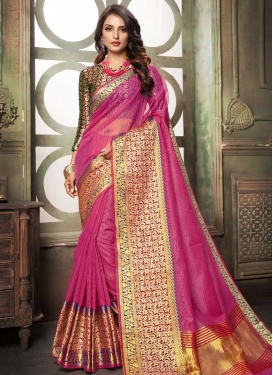 Cotton Silk Thread Work Red and Rose Pink Designer Contemporary Style Saree