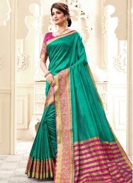 Cotton Silk Thread Work Rose Pink and Sea Green Designer Traditional Saree