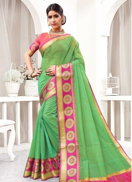 Cotton Silk Thread Work Trendy Classic Saree