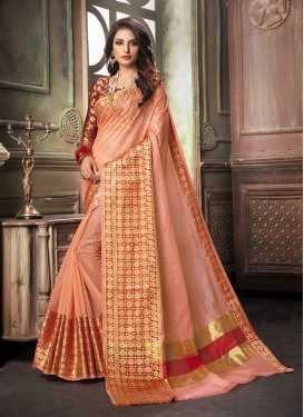 Cotton Silk Weaving Classic Saree in Peach