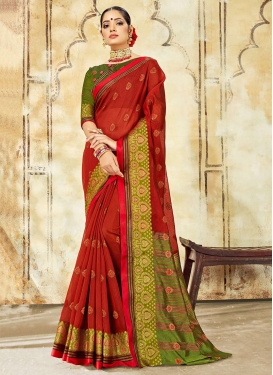 Cotton Silk Woven Red Designer Traditional Saree
