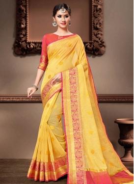 Cotton Silk Woven Work Contemporary Style Saree