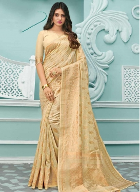 Cotton Silk Woven Work Contemporary Style Saree