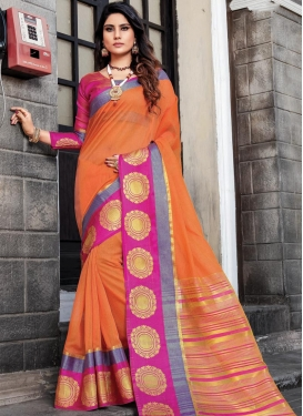 Cotton Silk Woven Work Designer Contemporary Saree