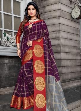 Cotton Silk Woven Work Designer Contemporary Style Saree