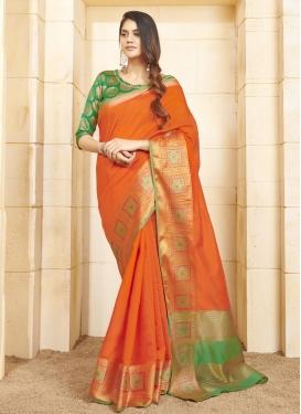 Cotton Silk Woven Work Green and Orange Designer Contemporary Saree