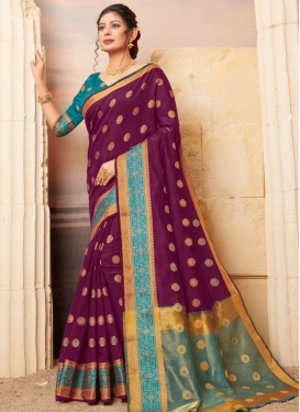 Cotton Teal and Wine Woven Work Traditional Designer Saree