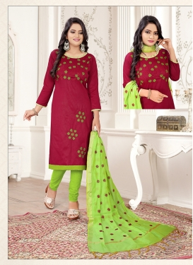 Cotton Thread Work Churidar Salwar Suit