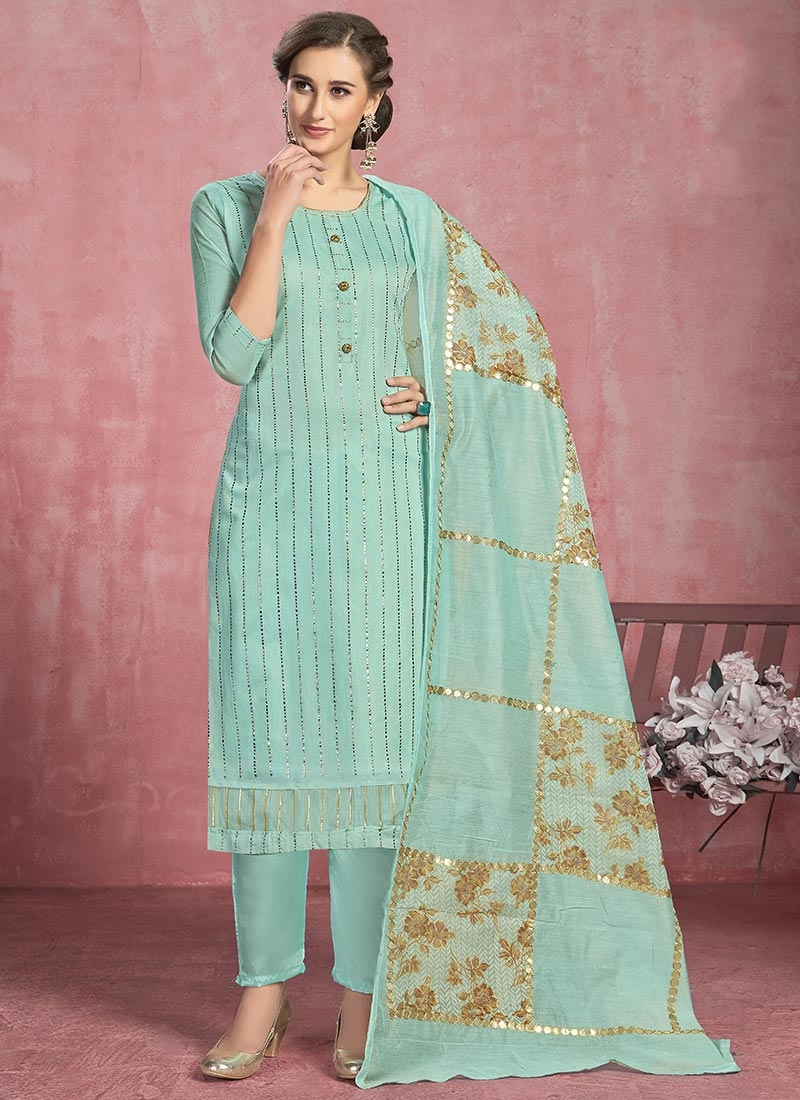 Cotton Thread Work Pant Style Classic Suit
