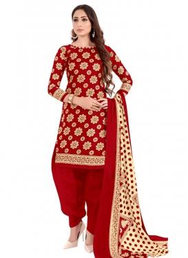 Cotton Trendy Semi Patiala Salwar Suit For Casual