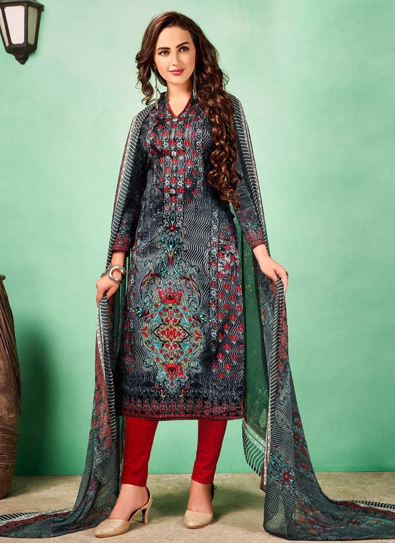 Cotton Trendy Straight Salwar Suit For Casual