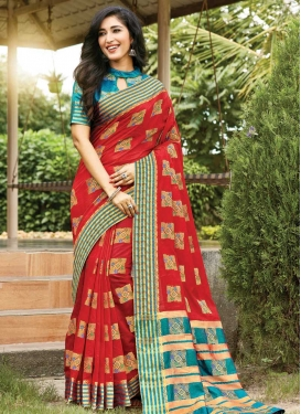 Cotton Woven Work Red and Teal Designer Contemporary Saree