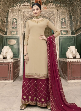 Cream and Crimson Designer Palazzo Salwar Suit