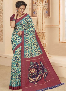 Cream and Crimson Digital Print Work Art Silk Trendy Saree