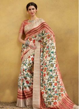 Cream and Crimson Digital Print Work Contemporary Style Saree